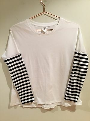 Girls Seed Teen Size 10 Years Long Sleeves White Stretch Top With Black Stripes