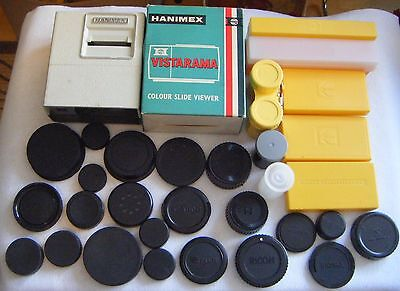 Collection of Photographic accessories,lens caps,slide boxes,Haminex viewer.