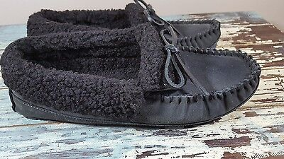 Clarks moccasins leather slippers charcoal gray faux fleece lined mens 9