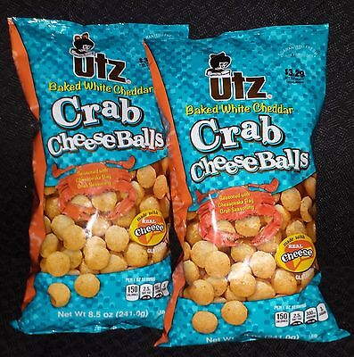 2 New Bags 8.5 Oz Each Utz Baked White Cheddar Crab Cheese Balls Gluten Free