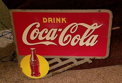 "Coca Cola Flange Sign. 23 1/2"" x 19 3/4"" Great color"