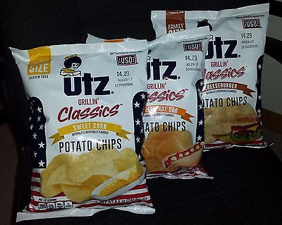Utz Summer Grilling Classic Potato Chips Set Of 3 Bags 8.5 Oz Each Gluten Free