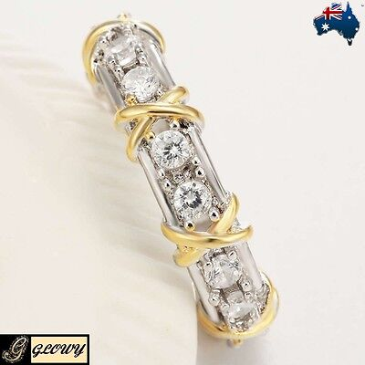 Silver Yellow Gold Plated 1.2ct White Topaz Wedding Engagement Band GLOWY Ring