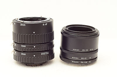 Full set Nikon macro extension rings PK-11a, PK-12 and PK-13 with another set