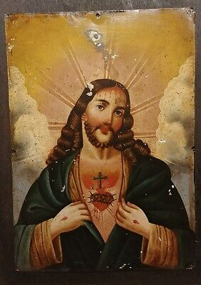 18th century Spanish Tin Retablo Jesus Church Relic Religious Painting