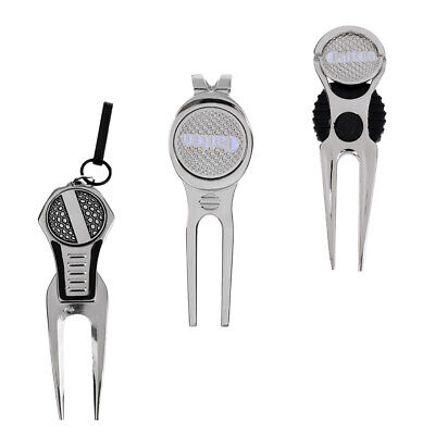 Golf Ball Tool Pitch Groove Cleaner Divot Repair Tool with Ball Marker