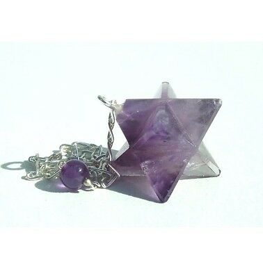Amethyst Merkaba Star Pendulum with Sterling Silver Chain