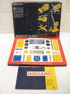Vintage Meccano Set Number 3 Boxed with Manual