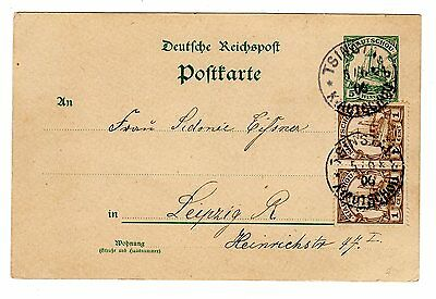 1906 German P.O. in China to Germany Uprated Stationery Card.