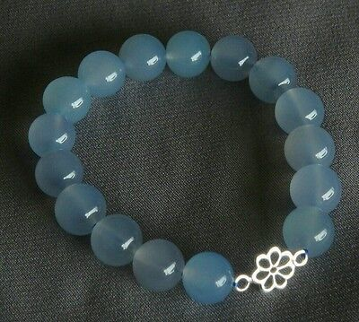 "AAA 10mm Blue Chalcedony Gemstone w/ Sterling Silver Flower 7""Stretch Bracelet"