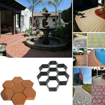 Driveway Paving Pavement Mold Patio Concrete Stepping Stone Path Walk DIY Maker
