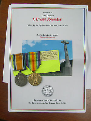 WW1 CASUALTY 1st DAY SOMME - 10-15008 PTE S JOHNSTON R IR RIF - S. BELFAST VOL.