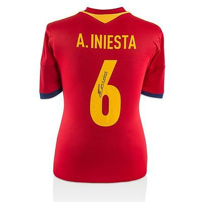 Andres Iniesta Back Signed Spain 2016 Home Shirt Autograph Jersey