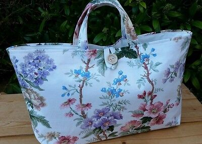 Knitting Bag, Vintage Floral Sanderson Fabric, Cream Lining, Hand-made