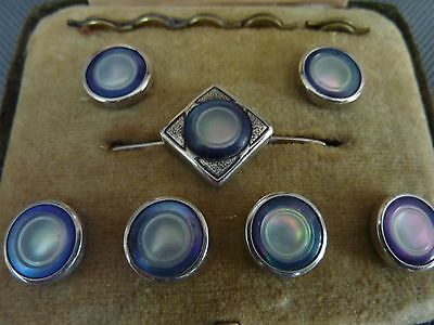 Vintage Sterling Silver and Mother Of Pearl Dress Button Set Cased