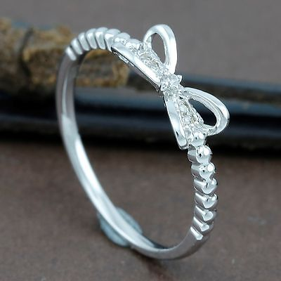 Genuine 18CT Solid White Gold Diamond Bow Ring
