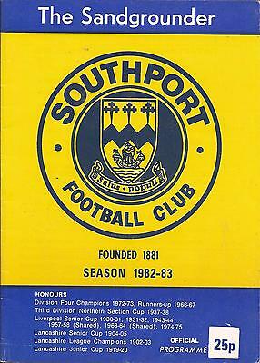 Football Programme - Southport v Workington - Northern Premier League - 1982