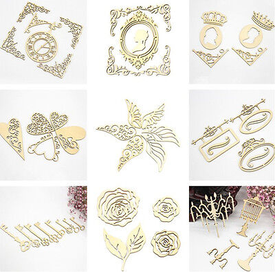 Wooden Multi Shapes Laser Cut Embellishment Wedding Craft DIY Scrapbook Deco