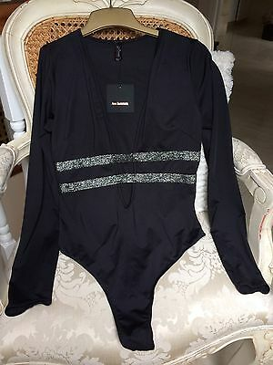 Ann Summers Stunning Black New Medium Lycra Stretch Leotard Body Long Sleeves