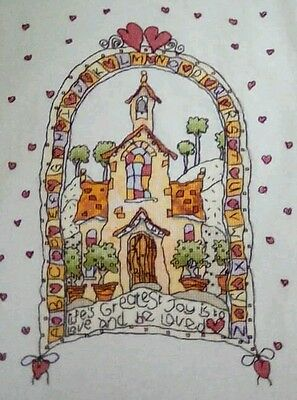Finished hand sewn personlised Wedding sampler cross stitch
