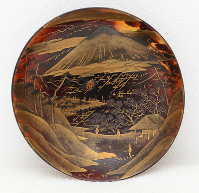 Japanese faux tortoiseshell saucer / dish with lacquer decoration
