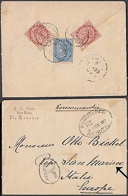 Mauritus 3 Values On Lovely Registered Cover To Marino Very Rare Destination