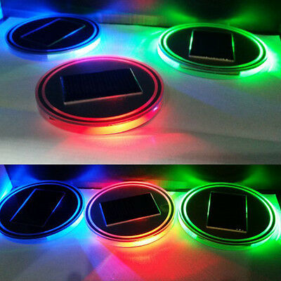 UK New Solar Cup Holder Bottom Pad Mat LED Light Trim Atmosphere For All Car 2pc