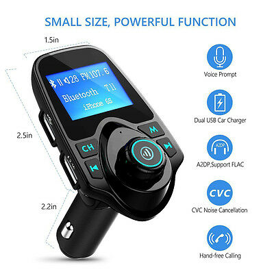 Wireless LCD Bluetooth Car MP3 FM Transmitter AUX USB Disk Charger Handsfree Kit