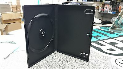 100 x SINGLE DVD CASE CASES 14MM SPINE STANDARD BLACK CLEAR FRONT SLEEVE COVER