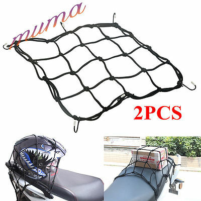 2 PCS 6-Hooks Motorcycle Motorbike Bike Cargo Luggage Bungee Cord Net 28X28cm UK