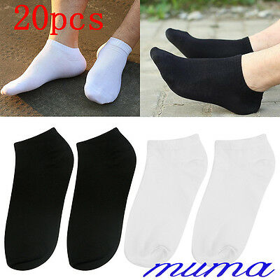 20 Pairs Mens Womens Trainer Liner Ankle Socks Cotton Rich Sport Black White