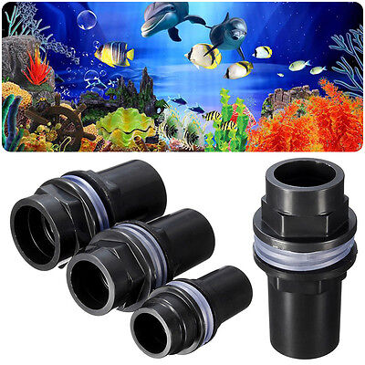 Aquarium Straight Tank Connector PVC Waterproof Pipe Joint Fish Tank New Black