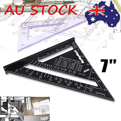 """7"""" Ruler Miter Aluminum Alloy Speed Square Roofing Triangle Protractor Carpenter"""