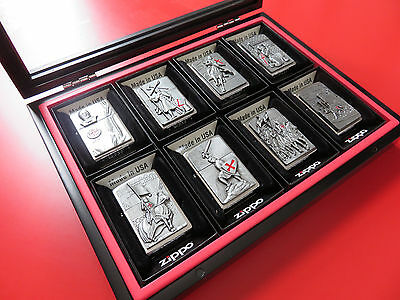 8 NEW CRUSADERS ZIPPO TEMPLERS TEMPLIERS KNIGHTS IN WOODEN and GLASS SHOWCASE