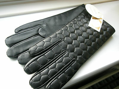 Gloves Black Leather Quilted Lined Ladies M/l Brand New
