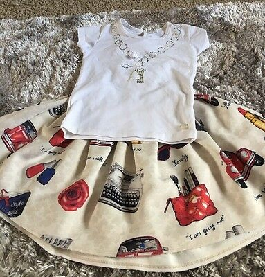 MONNALISA & MICROBE Girls Outfit Set Skirt & Top 5Yrs Romantic Dinner ❤️