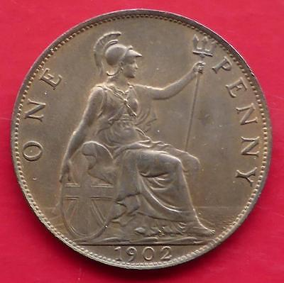 1902 King Edward Vii Gb One Penny Coin / Superb