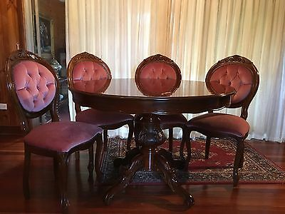 Antique Dining Suite Setting Table Chairs Extension Wood Velour