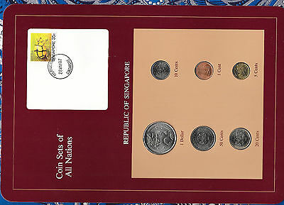 Coin Sets of All Nations Singapore w/card UNC 50,20,10 cents 1987 $1 1981