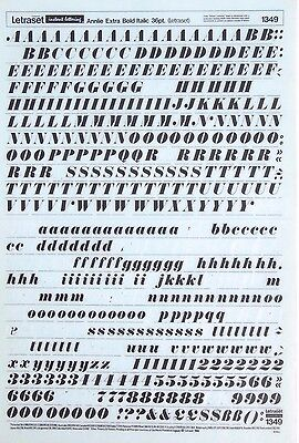 LETRASET Rub On Letter Transfers ANNLIE EXTRA BOLD ITALIC 36p ( #1349) Used 1966