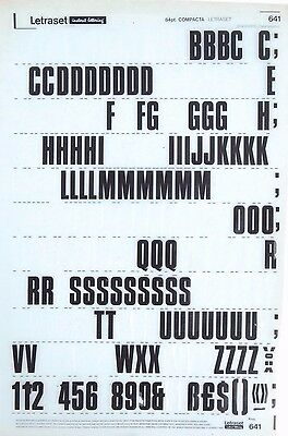 LETRASET Rub On Letter Transfers COMPACTA 84pt ( #641) Used 1968