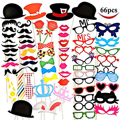 66 PCS Photo Booth Props Wedding Birthday Party Decoration Reception Engagement