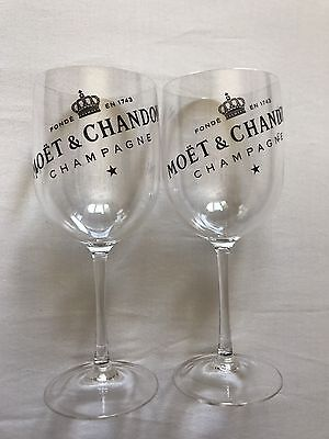 Moet & Chandon Champagne Clear Goblet Plastic Glasses Set Of Two LIMITED EDITION