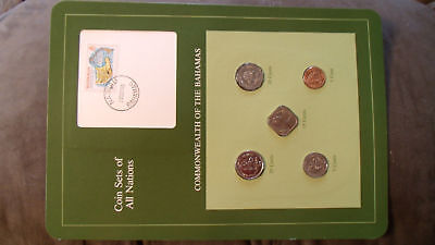 Coin Sets of All Nations Bahamas w/card 1969 -1985 UNC 1 cent 85 5, 25 cent 1981