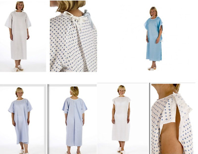 NHS Hospital Disposable Patient Modesty Gowns Blue, White, Tie, Pullover, Popper