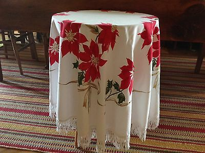 Vintage Christmas Tablecloth, 60 Inch Poinsetti