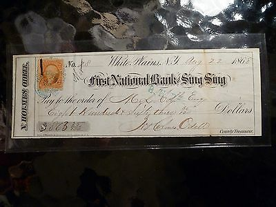 Obsolete Bank Check First National Bank Sing Sing NY 1868