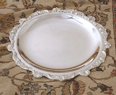 """Poole """"Old English"""" Silver-plate Serving Tray, EPNS 5002, 15 inches Diameter"""