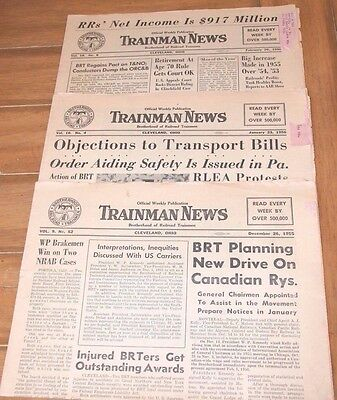 "Lot of 3 Brotherhood of Trainmen, ""Trainman News"" newspapers, 1955 & 1956"