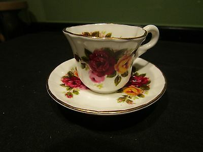 Miniature Fine Bone China 'old Country Roses' Pattern Cup & Saucer Polly-Anna